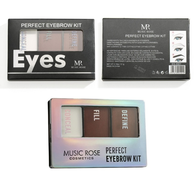 3 colores polvo de cejas con pincel ojos maquillaje impermeable de larga duración fácil de operar profesional para damas cosméticos Q1