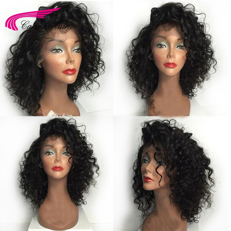 Carina Brazilian Kinky Curly Lace Front Wigs with Baby Hair Remy Human Hair Pre-Plucked Hairline Glueless Short BoB Wigs