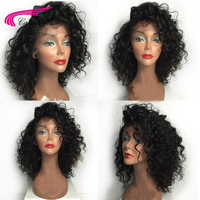 Carina Brazilian Kinky Curly Lace Front Wigs with Baby Hair Remy Human Hair Pre Plucked Hairline Glueless Short BoB Wigs
