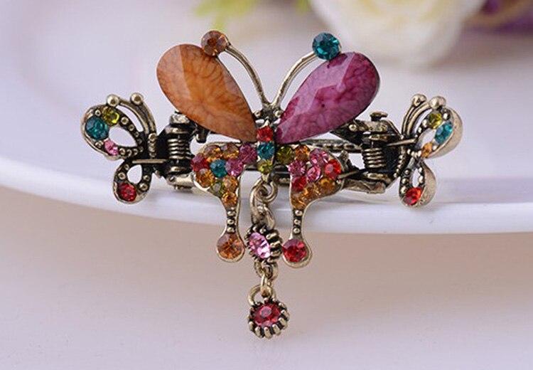 HTB1ZxkRMXXXXXb7XVXXq6xXFXXXn Vintage Women Turquoise Butterfly Flower Hair Barrette With Rhinestone Crystals - 5 Colors