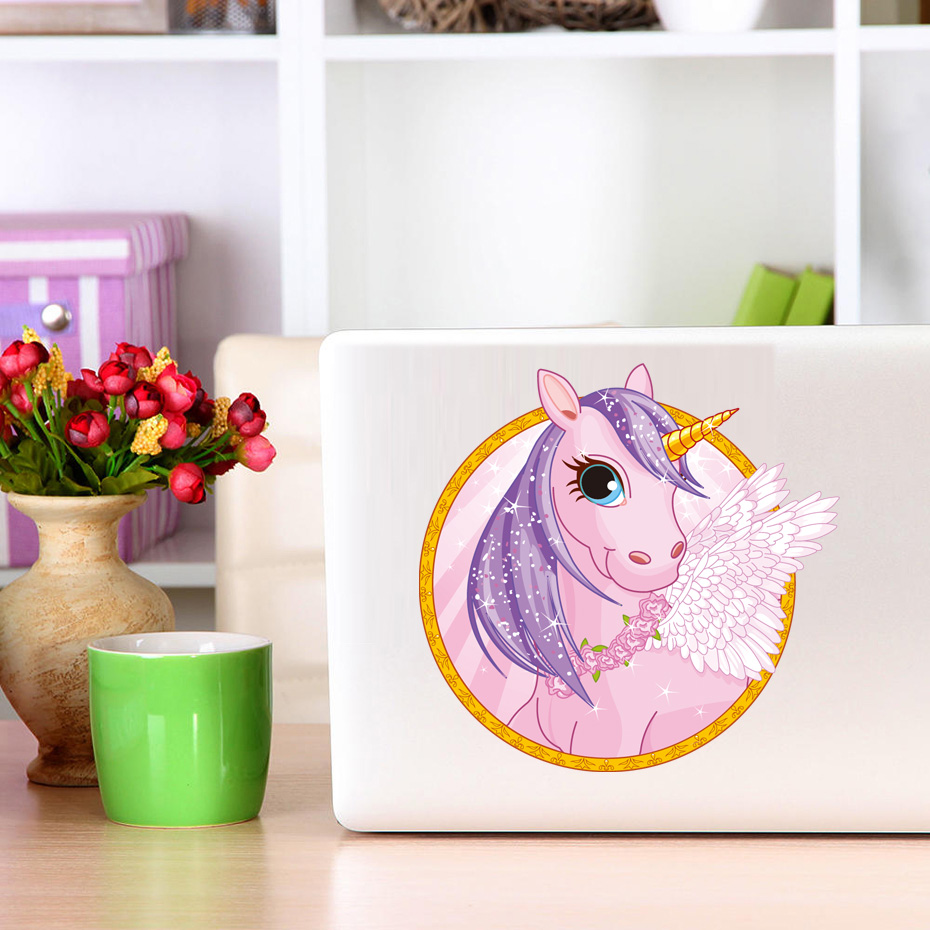 Cute Cartoon horse Unicorn laptop Stickers Removable Diy Switch Art Vinyl Decal For Kids room Living Room Home Decor