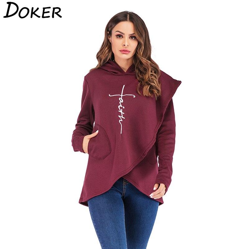 Otoño sudaderas con capucha de las mujeres de manga larga con bolsillo de fe bordado cálido con capucha Tops Jersey Plus tamaño ropa Casual femenina