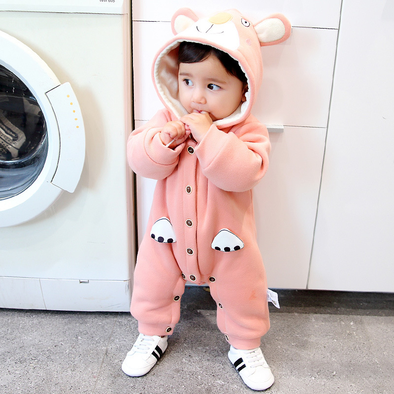 Baby boy girl jumpsuit cartoon bear thick warm baby hoodies romper outfit clothes set age 0-18m newborn infant costume spring baby romper infant boy bear romper newborn hooded animal clothes toddler cute panda romper kid girl jumpsuit baby costume