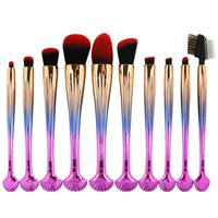10pcs Makeup Brushes Set Professional Shell Make Up Brush Foundation Powder Cosmetic Tool Gradient Gold