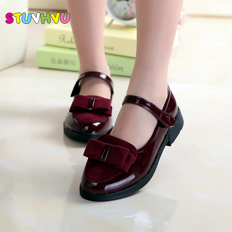 Female child princess leather 2017 spring child leather Bow-tie PU Leather Children Shoes Euro Size 27-37 Kids Loafers Girls