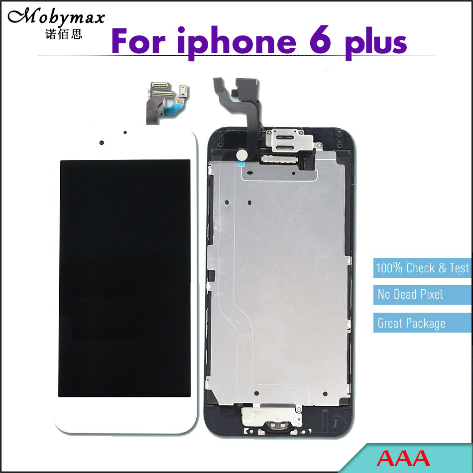 Mobymax LCD Full Assembly For iPhone 6 plus A1522 A1524 A1593 Touch Screen Digitizer Display Complete+Home Button+Front Camera