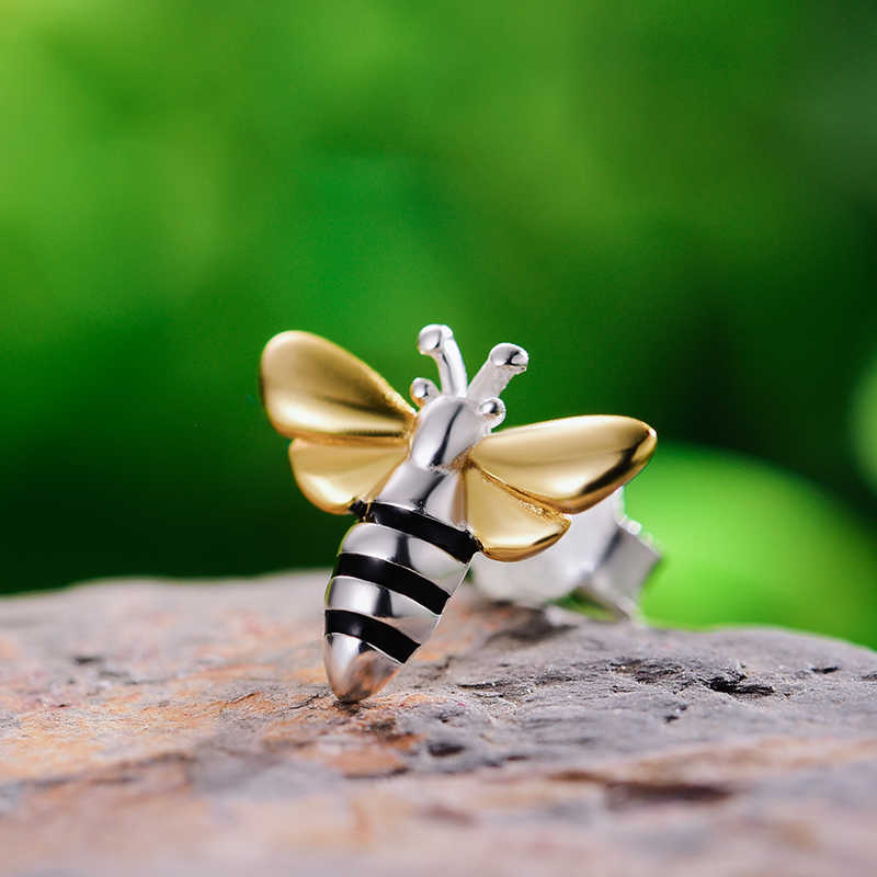 Lotus Menyenangkan Nyata 925 Sterling Silver Anting-Anting Desain Fine Perhiasan Indah 18K Emas Lebah Madu Stud Anting-Anting untuk Wanita hadiah Brincos