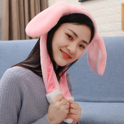 Новинка, Мультяшные шапки с подвижными ушками, милый Игрушечный Кролик, шапка с подушкой безопасности, Kawaii, забавная шапка для девочек, детская плюшевая игрушка, рождественский подарок - Цвет: Headband pink