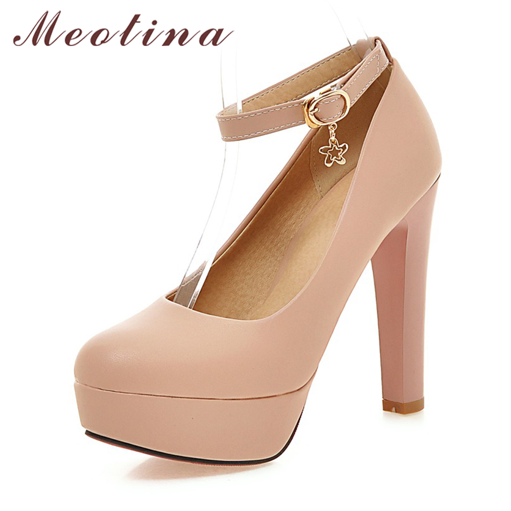 Meotina Shoes Women Pumps Sexy Platform High Heels Ankle Strap Extreme High Heels Bridal Shoes White