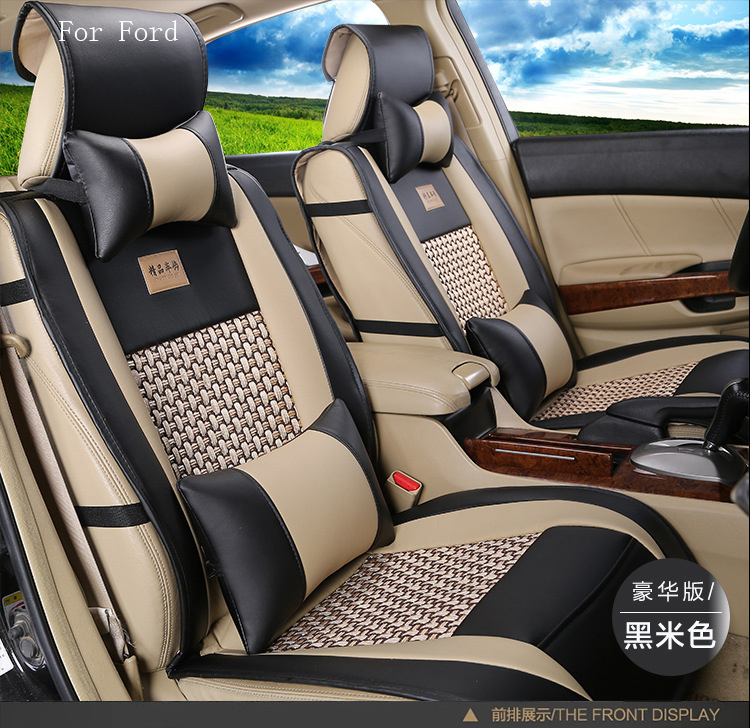 Подробнее о for Ford Focus Fiesta Kuga F-150 F-250 fusion pu Leather weave Ventilate Front & Rear Complete car seat covers four seasons black brown brand leather car seat cover front and rear complete for ford focus fiesta fusion f serie kuga edge car seat cushion