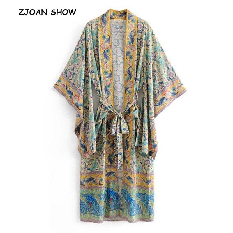 2019 New Women Bohemian V Neck Pteris Flower Print Kimono Shirt Holiday Beach Bow Tie Sashes Maxi Long Cardigan Blouse Tops