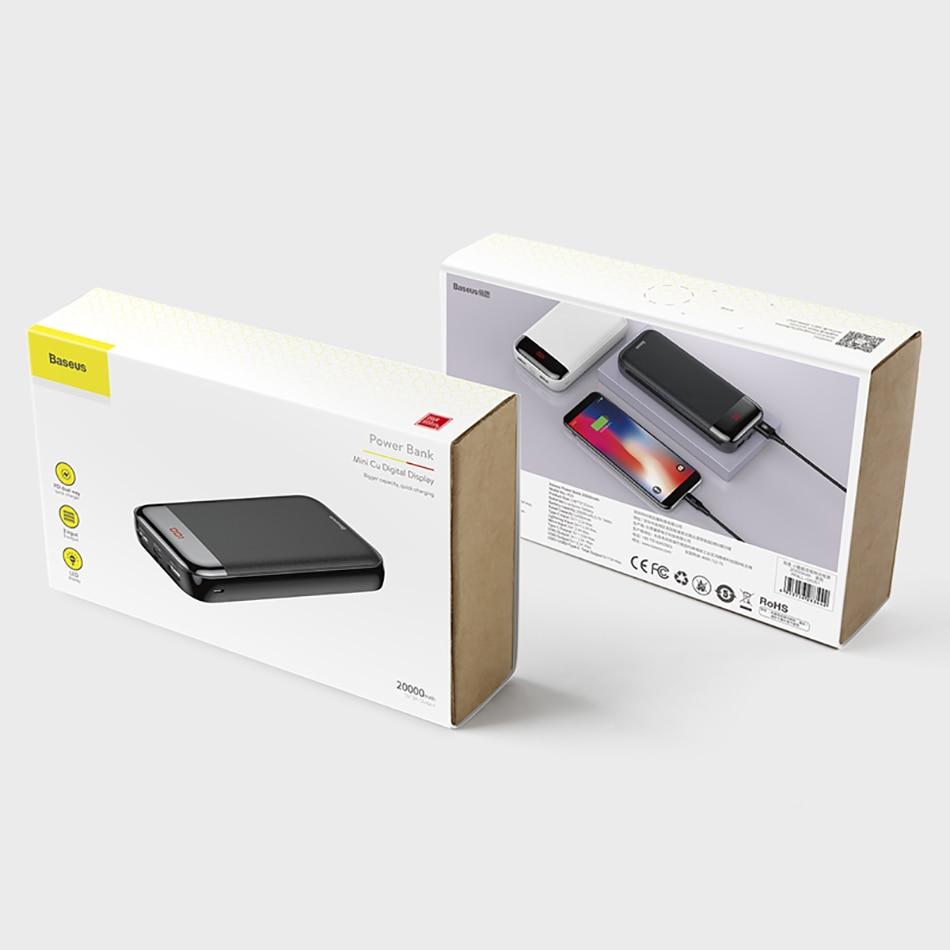 Baseus 20000mAh Power Bank 000 mAh LCD USB C PD Fast Charging Powerbank Portable External Battery Charger For Xiaomi Poverbank 10