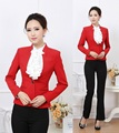 New 2015 Elegant Red Autumn Winter Formal Pantsuits Uniform Design Business Women Jacket and Pant For Ladies Office Trousers Set