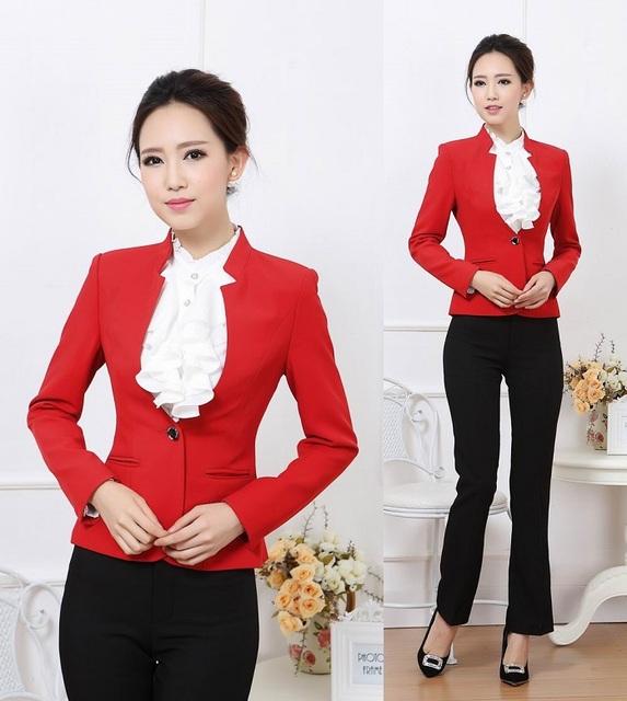 Nuevo 2015 Elegante Rojo Otoño Invierno Diseño Uniforme Pantsuits Formal Mujeres de Negocios Chaqueta y Pantalones Para Damas Oficina Pantalones Fijados