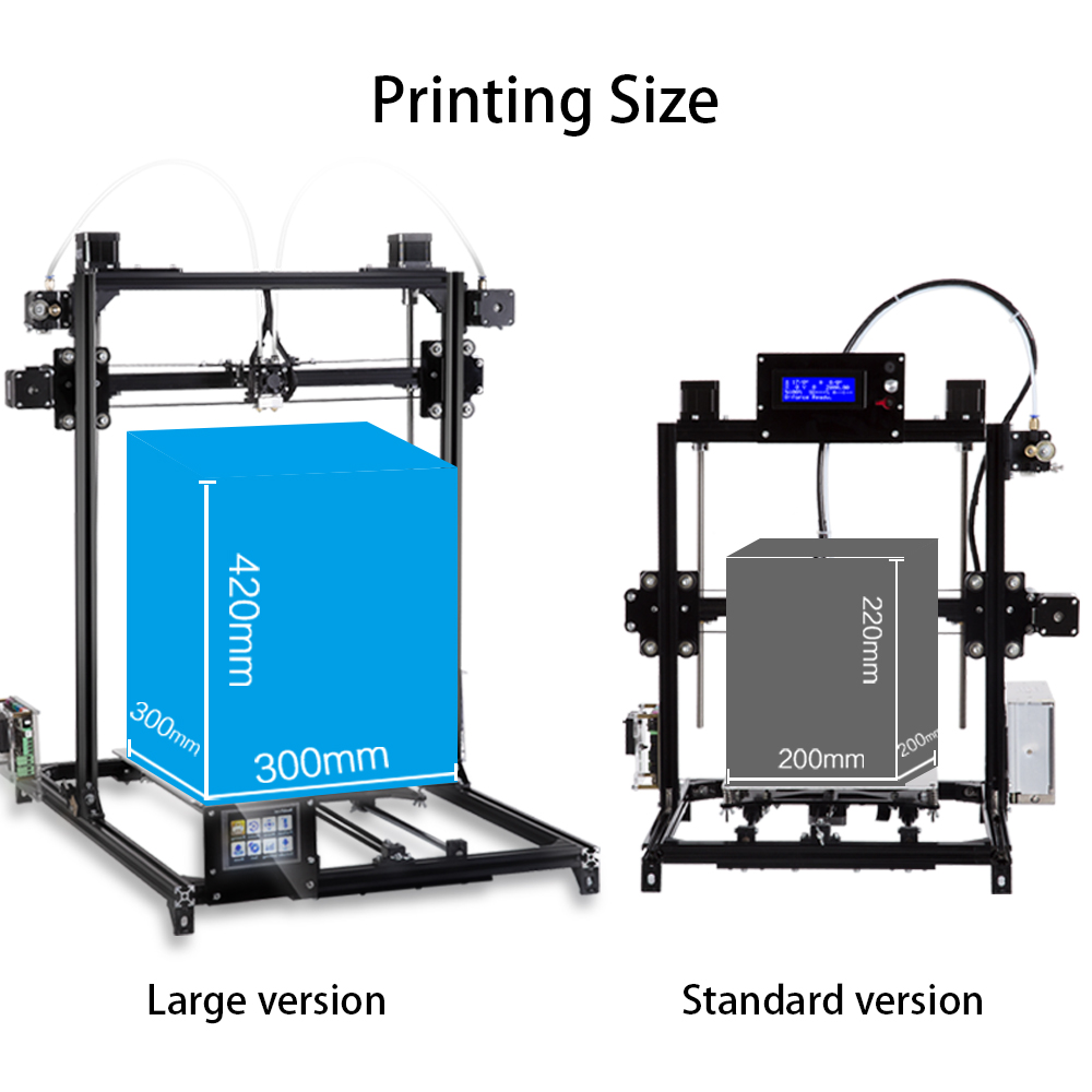 2019 Flsun 3D Imprimante I3 Kit Full Metal grande taille 300x300x420mm extrudeuse double Tactile Auto-nivellement imprimante 3D Chauffée Lit Filament - 2