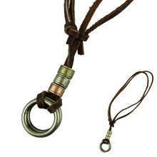 Delicate Charms Jewelry Necklace Handicraft Leather Men Necklace Punk Metal Loop Pendants Necklace Chain Charm