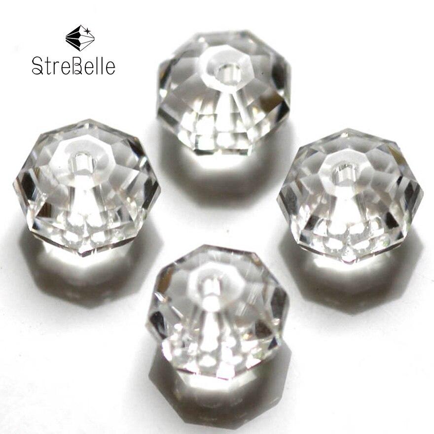 500 Perles Rondelle Cristal verre quartz Blanc 6mm