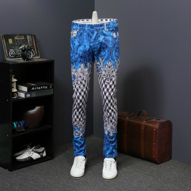Pattern Designer Jeans Denim Pant Men Slim Fit Full Length Men Trousers Moda Hombre 2018 Erkek Kot Pantolon Royal Printed Jeans
