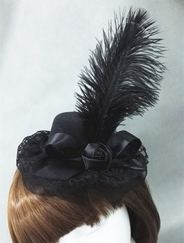 1940s Vintage Black Wool Felt Hats Goth Feather Mini Top Hats Accessories Handmade 1