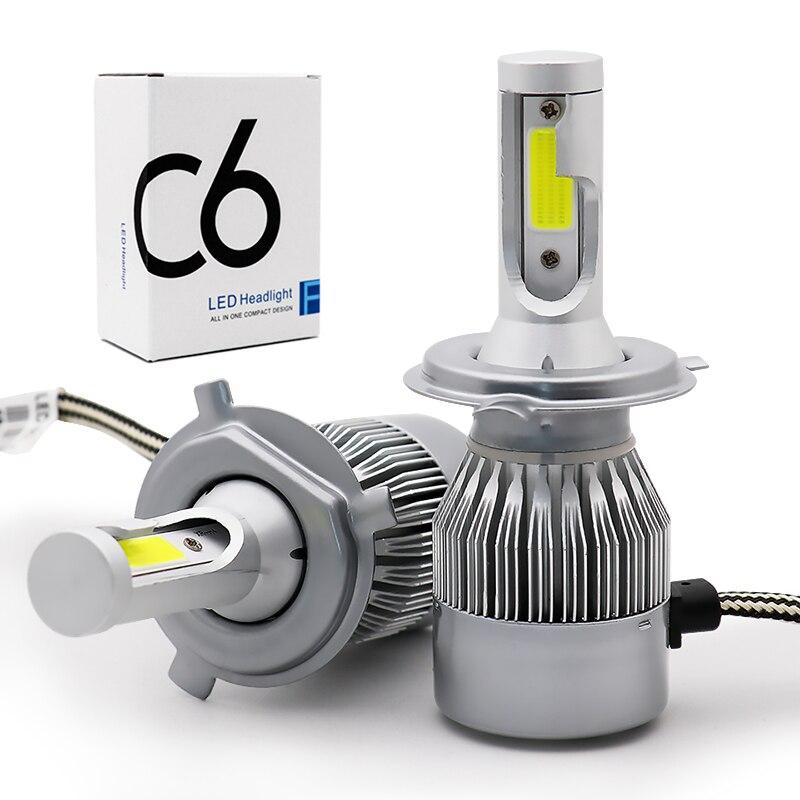 Car 12V C6 H4 LED Bulb H1 H3 H7 H11 H13 880 9005 Hb3 9006 Hb4 Headlight Kit 36W 3800Lm COB Headlamp Auto Fog Light Lamp Bulbs