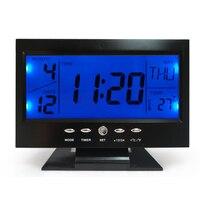 Alarm Clock Blue Backlight Voice Control Digital Temperature Display Black LED Calendar Thermometer Snooze Alarm Desk Clock