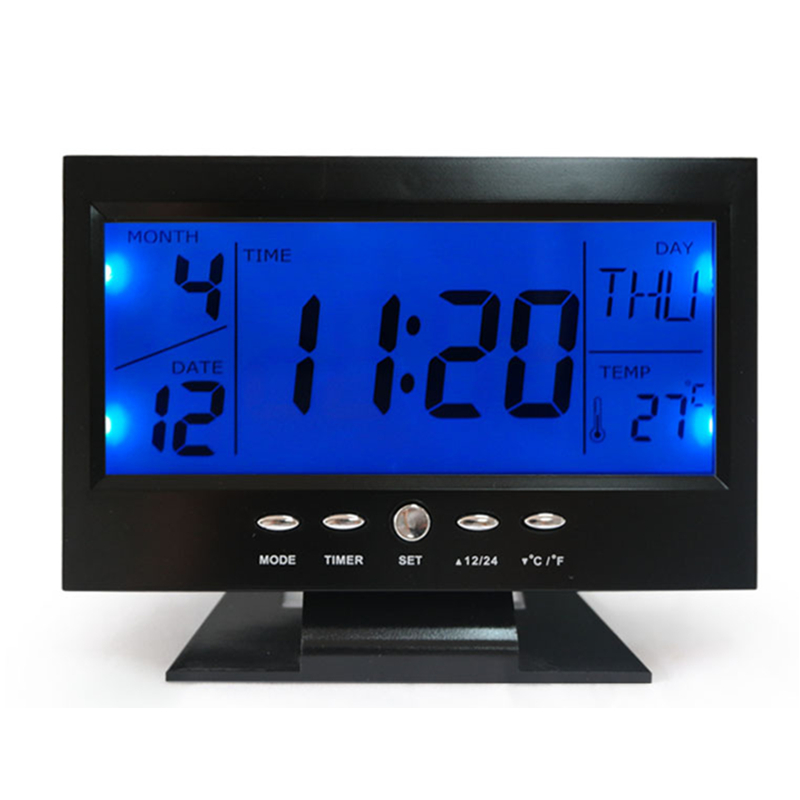 Acheter Alarme Horloge Rétro Éclairage Bleu Contrôle Vocal Numérique Affichage de La Température Noir LED Calendrier Thermomètre Snooze Alarme Horloge De Bureau de light sky moving head fiable fournisseurs