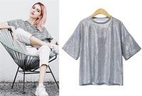 2018 new woman Round neck short sleeve fashion flash fabric t shirt top