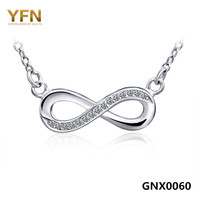 GNX0060 Genuine 925 Sterling Silver Infinity Necklace New S925 Jewelry CZ 8 Pendant Necklace With O