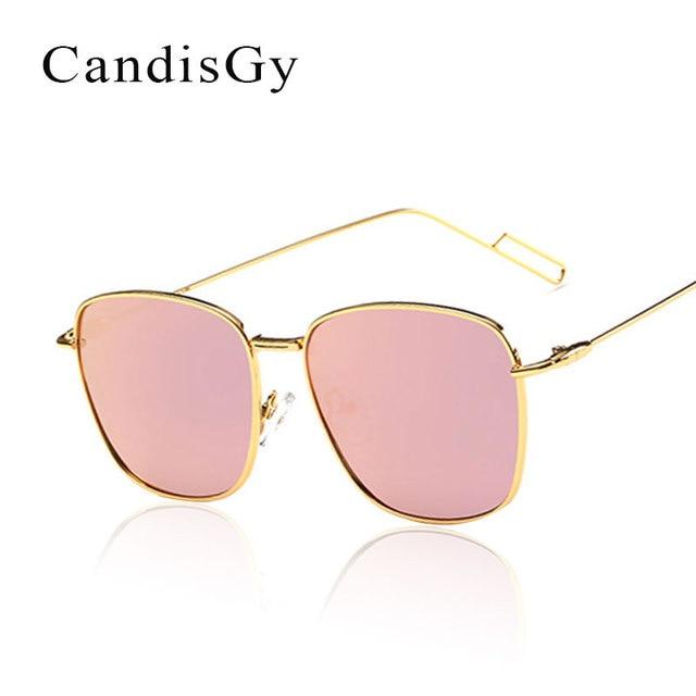 5d44308349 Cuadrado lente plana Rosa espejo Gafas de sol mujeres nueva marca diseñador  señora moda hombres Sol