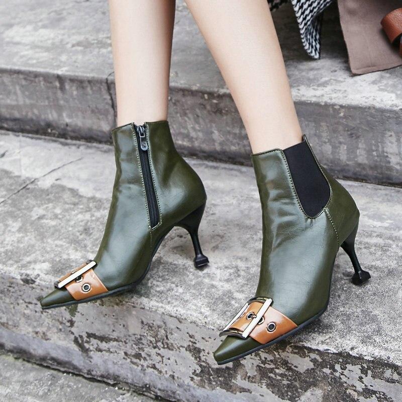 26ef2322465343 Minces Noir Décoration Zips Chaussures Femelle Boucle 46 vert D'hiver Femme  Bottes Pointu Bottines Femmes ...