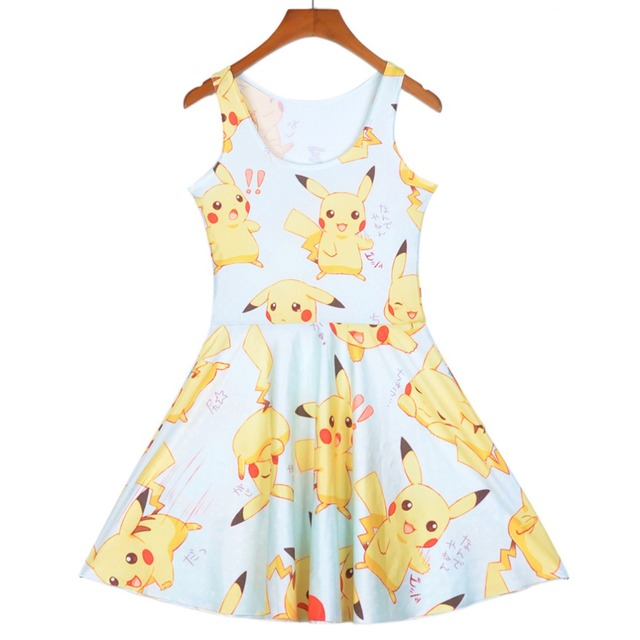 6d2ee6e877a40 Pottis Pikachu Printing Girls Sweet Dresses Anime Yellow Cartoon Casaul Slim  Summer Skater Dress Cute