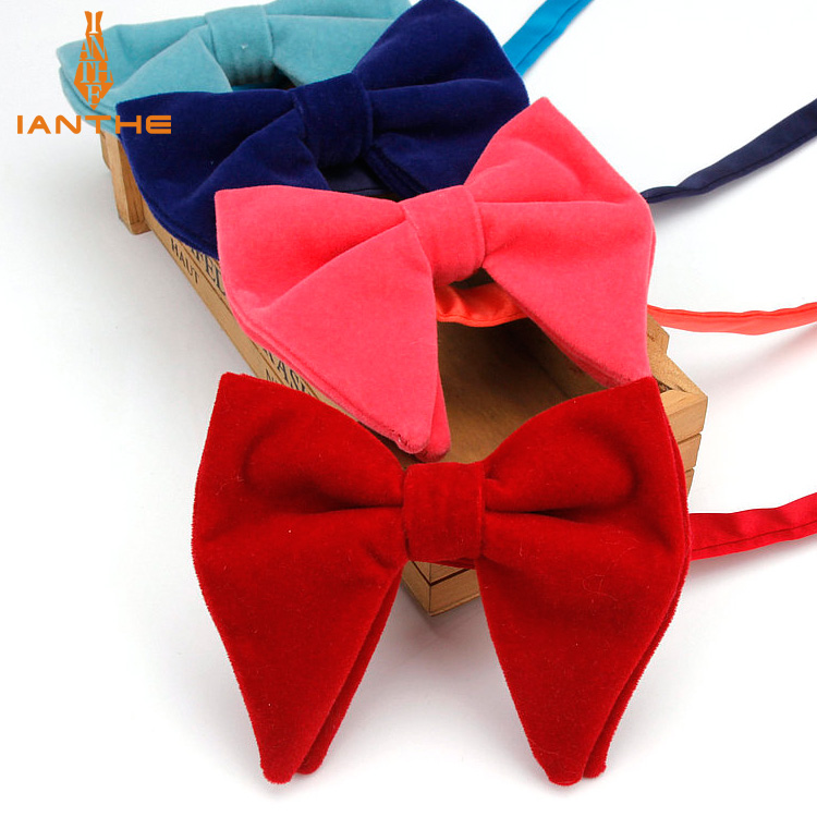 Men's Big Bow Ties For Women Men Micro Suede Bowtie Candy Solid Corduroy Butterfly Soft Lithe Gravata Wedding Party Tie Bowknot
