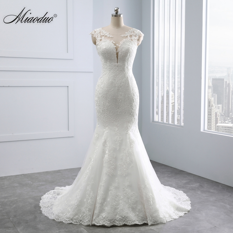 Miaoduo Wedding Dresses Sweetheart Backless Appliques Lace Pearls Vestido De Noiva Real White Bridal Gown Mermaid Wedding Dress