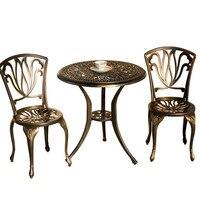 Сад литой алюминиевый стол и стулья из трех частей suite европейском стиле открытая терраса под открытым небом чайный столик сочетание