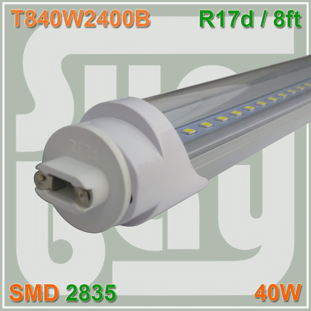 Free Shipping LED Tube T8 Bulb 8FT 40W 110-277Vac R17D Converter Replace HO Fluorescent Lamp Light free shipping 20pcs lot 0 9meters t8 led fluorescent tube light 15w 1350lm ce