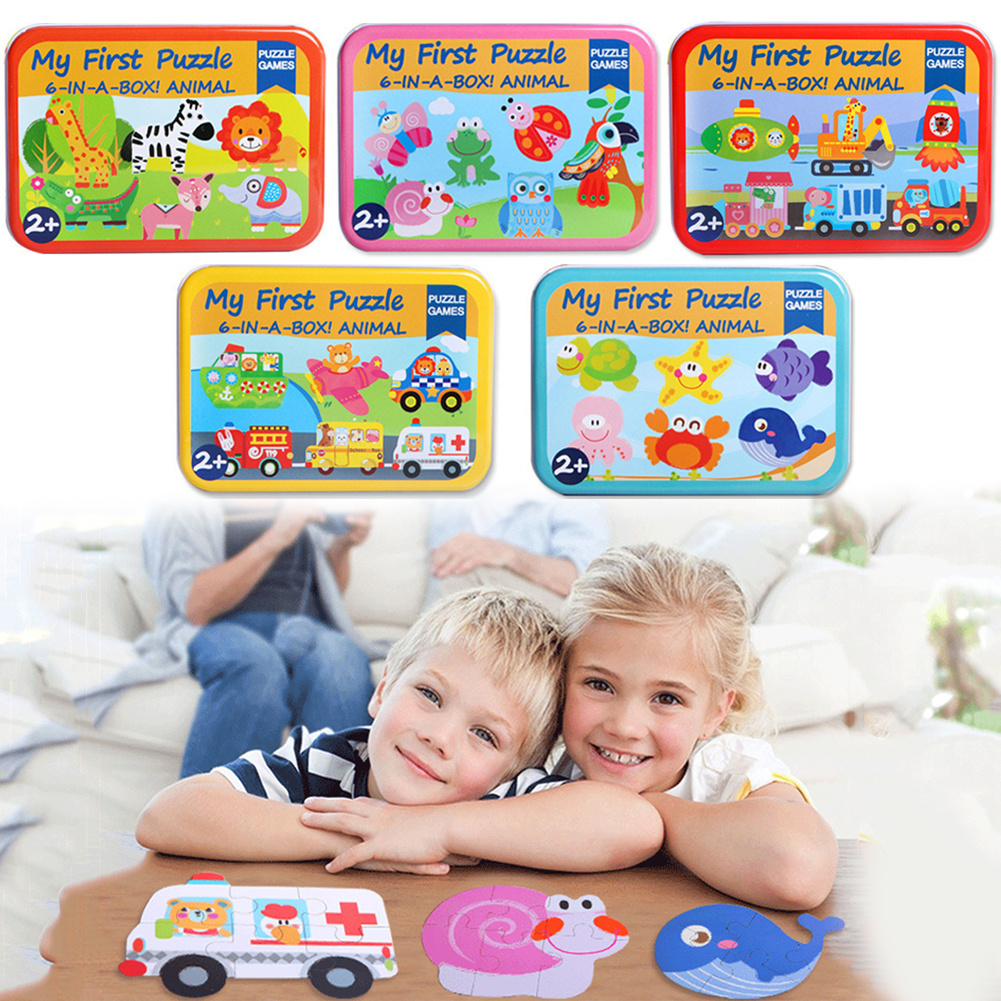 Baby toys 6 in 1 cartoon Wooden animals puzzle Montessori anticipated Brain Teaser Jigsaw Puzzle toys gifts for children