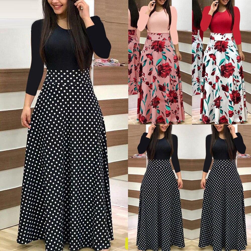 Plus Size 2019 Fashion Women Dress Long Sleeve Printed Patchwork Elegant Vintage Maxi Dress Ladies Summer Casual Vestido Floral
