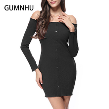 c02d9f6107 GUMNHU Women Sexy Dress Long Sleeve Solid Boob Tube Top Off The Shoulder Dress  Evening Party