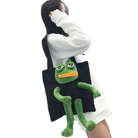Canvas Shoulder Shopping Bag Women Zipper Frog Doll Casual Tote Bag Shopper Bolsa Reutilizable Eco Friendly Grocery Bag 50Z0021