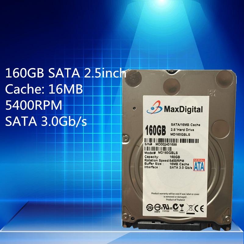 2 5inch HDD 160GB 5400Rpm 16M SATA Internal Hard Disk Drive For Laptop Notebook MaxDigital MD160GB