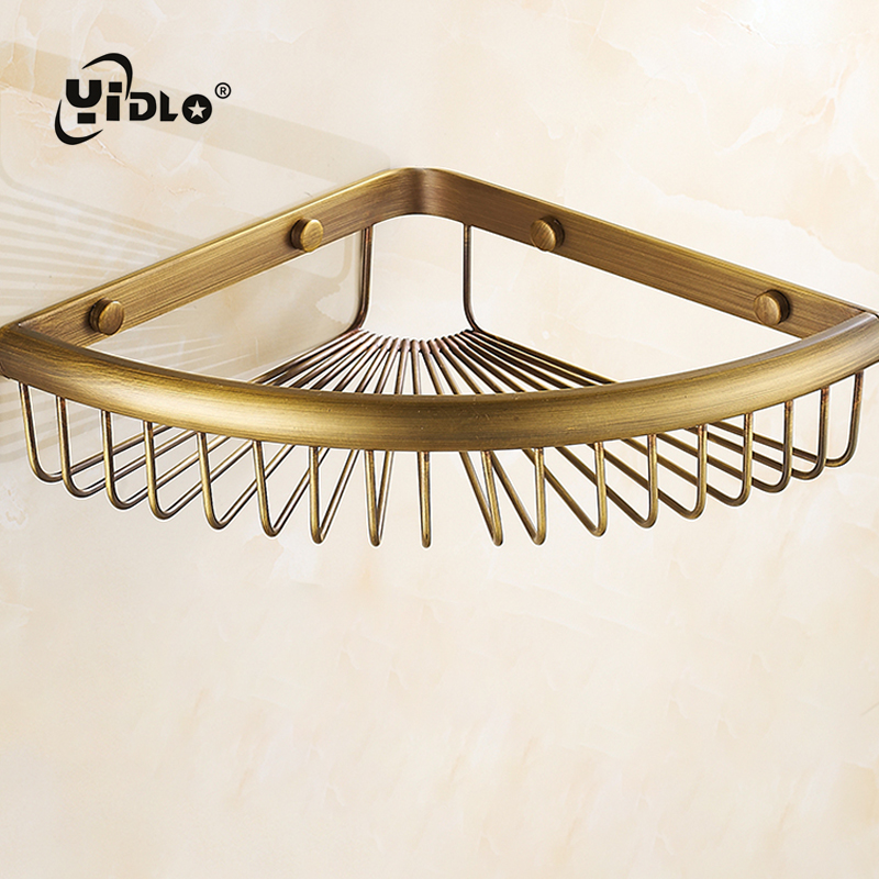 Bathroom Triangle Corner Shelves Single Tier Solid Brass Shower Basket Bath Soap Shampoo Storage Holder Wall Mounted Shower rack single tier wall mounted black finish carving brass bathroom shower shampoo shelf basket holder i633