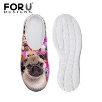 FORUDESIGNS Home Sandals Women Comfortable 3D Pink Pug Dog Animal Printed Casual Summer Female Mesh Beach Flat Walking Shoes