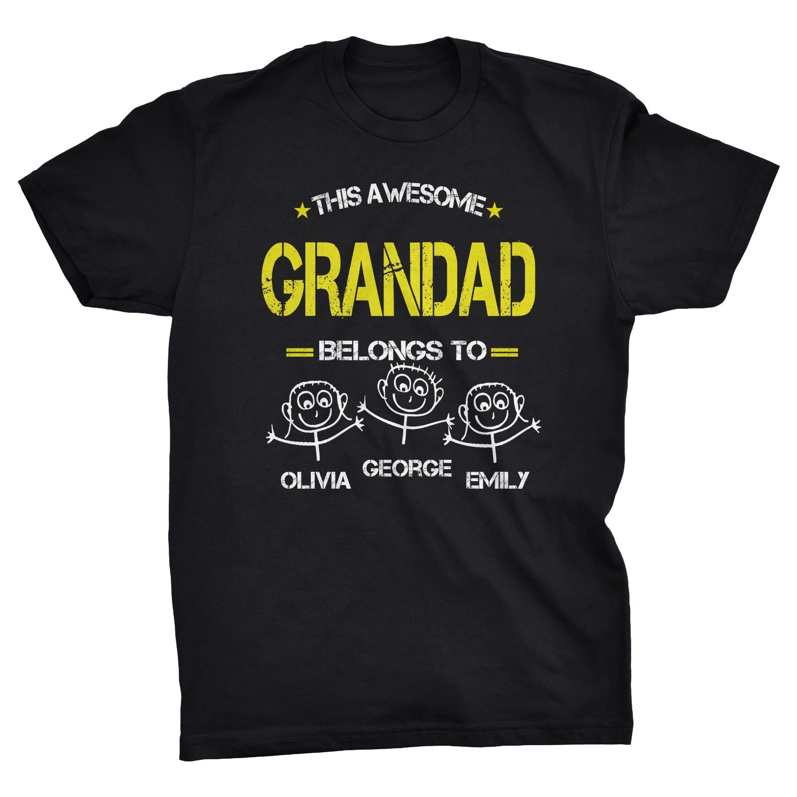 THIS AWESOME GRANDAD BELONGS TO... Personalised Fathers Day Cute T-shirt