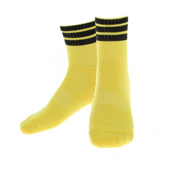 Stripe Sports Running Football Soccer Elasticity Short Socks Yellow