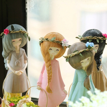 Rural Style Resin Angel Figurines 2PCS/SET garlands furnishing  articles fashion girl doll Home Decoration