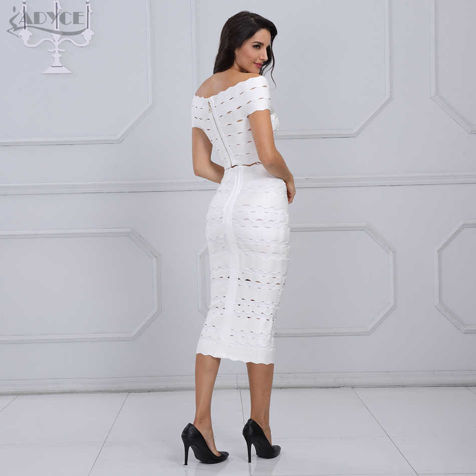 Adyce 2019 nova chegada inverno bandage vestido conjunto chique feminino elegante branco fora do ombro 2 duas peças conjunto vestido de festa