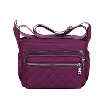 Water Proof Oxford Shoulder Bag Solid Purple Ling, Hobos More Zippers Contracted Messenger Bag for Women Leisure Vintage Bag