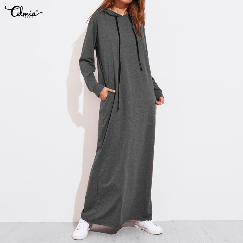Celmia Women Vintage Hoodies Maxi Dress 2019 Autumn Casual Long Sleeve Pockets Hooded Dresses Loose Long Vestidos Robe Femme 5XL