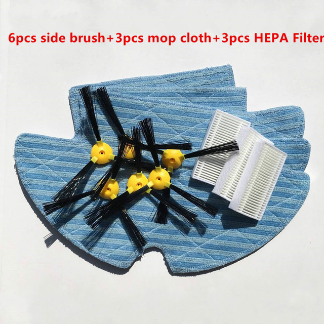 Vacuum Robotic Cleaner Parts for Haier SWR T320 T321 T325 vacuum cleaner parts side brush x6+ mop cloth x3+HEPA Filter x3