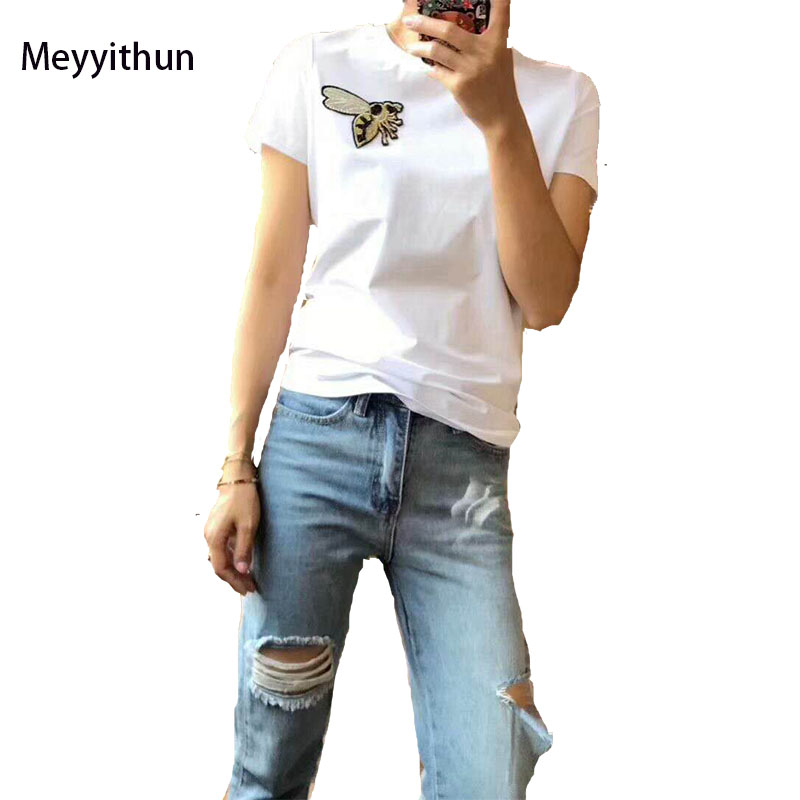 New Arrival Summer 2018 Womens Bee Embroidered Mercerized Cotton T Shirt 171125MM02 ...